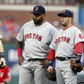 Brock Holt, Pablo Sandoval, Dustin Pedroia and Mike Napoli