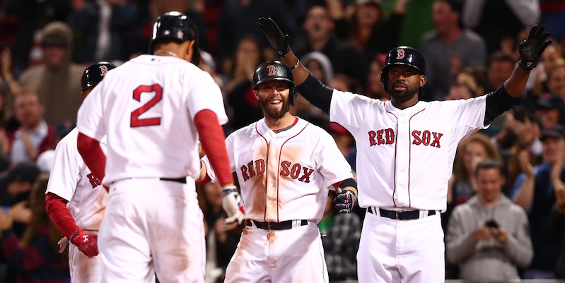 Xander Bogaerts, Dustin Pedroia and Jackie Bradley